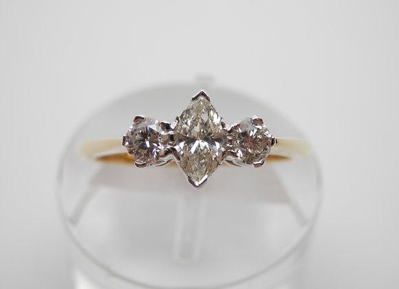 18ct Three Stone Marquise Diamond Ring,