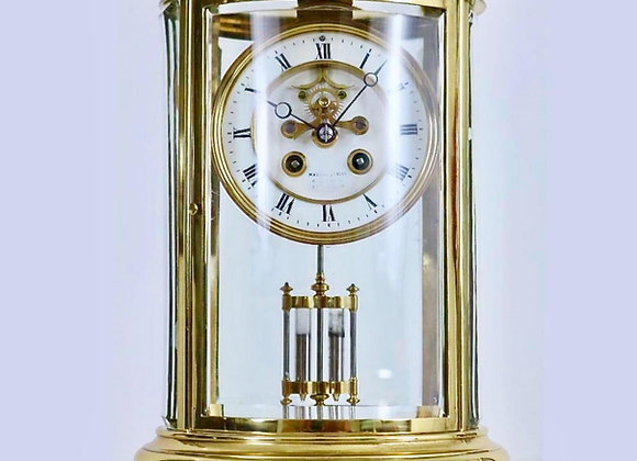 Second Hand French Antique Brass & Glass Mantle Clock.