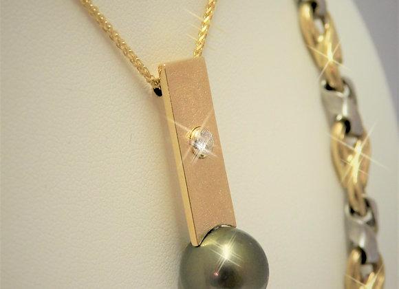 Black Titian Cultured Pearl & Diamond Pendant.
