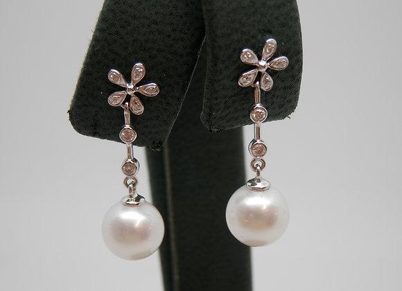 Cultured Pearl & Diamond Drop Earrings