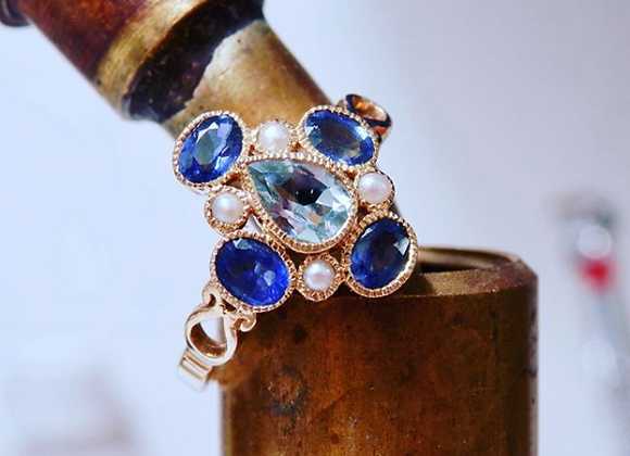 Aquamarine, Sapphire, Seed Pearl Ring