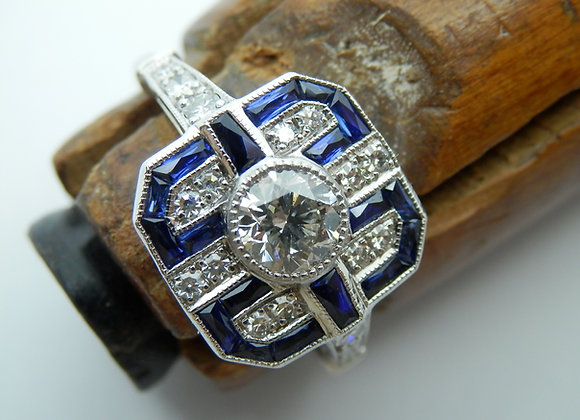 Second Hand Diamond & Sapphire Deco Style