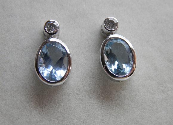 Oval Aquamarine & Diamond Stud Earrings