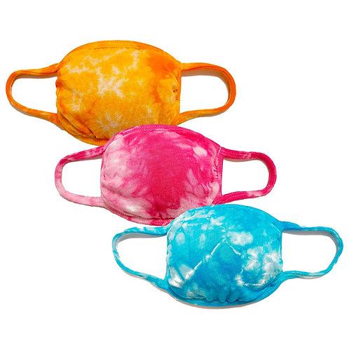 3-Pack Reusable Tie dye Cloth Face Mask w/Filter Pocket(Orange/Pink/LtBlue)
