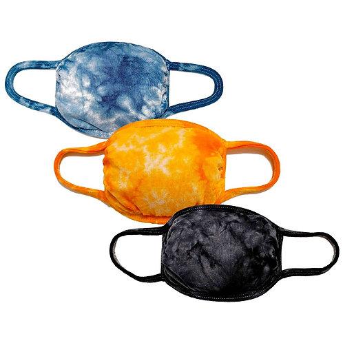 3-Pack Reusable Tie dye Cloth Face Mask w/Filter Pocket(Navy/Orange/Black)