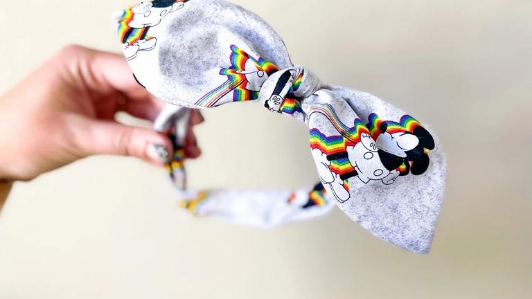 Retro Rainbow Mickey Knot Band