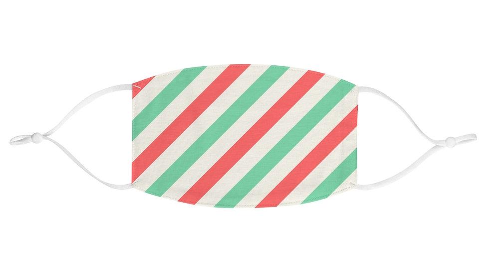 Minty Christmas Stripe Face Mask