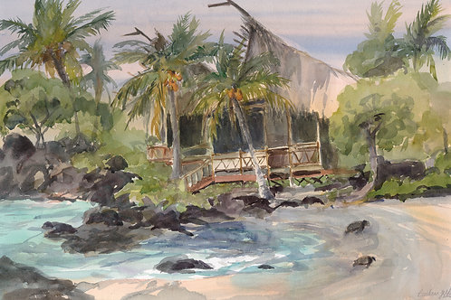 Kona Village Hale - Watercolor