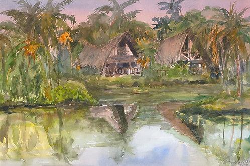Kona Village Twin Hale - Watercolor
