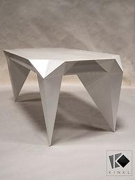 origami table contemporain sculpture acier laqué blanc design breton bégard lannion morlaix bzh breizh créations guingamp kinl kink