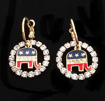 RNC Elephant Crystal Earring Set