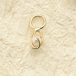 Small Cage Pearl Charm Pair