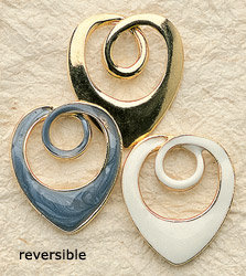 Reversible Swirl Heart Charm Pair