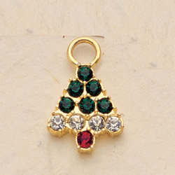 Crystal Christmas Tree Charm Pair