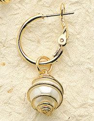Round Swirl Pearl Charm Pair
