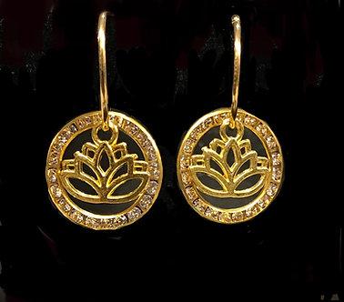 Ladies Oriental Shrine Crystal Lotus Earring Set