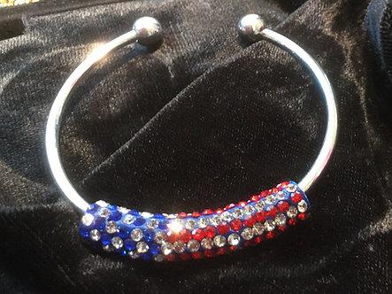 Crystal Flag Cuff Bracelet