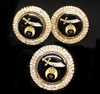Shriner Crystal Cufflinks and Button Set