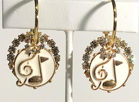White Music Notes with Crystals