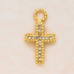 Large Crystal Cross Charm