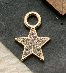 Large Crystal Star Charm Pair