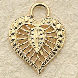 Filagree Heart Charm Pair