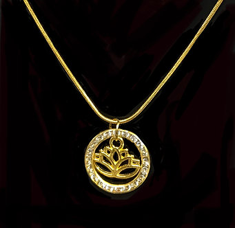 Ladies Oriental Shrine Crystal Lotus Necklace Set