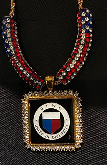 GFWC Square Medallion with Crystal Flag