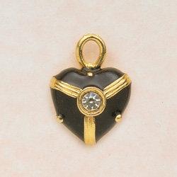 Black Enamel Heart Charm