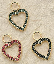 Crystal Frame Heart Charm Pair