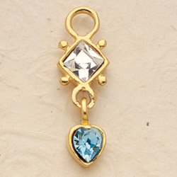 Diamond Heart Drop Charm Pair