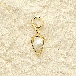 Heart Pearl Charm Pair