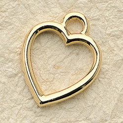 Solid Frame Heart Charm Pair