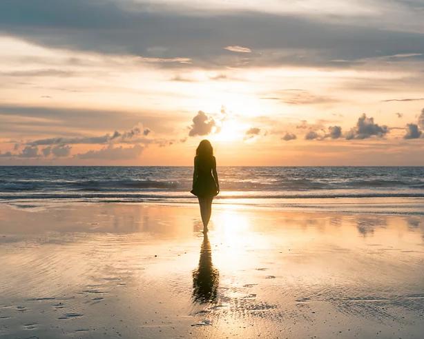 A walk along the beach at sunrise