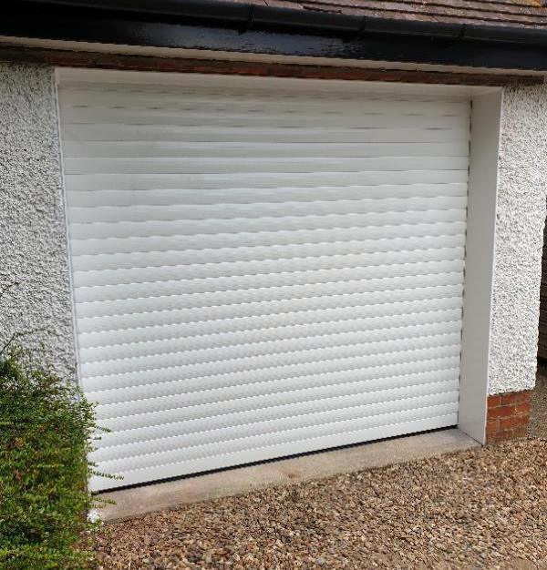 Single white garage door with soffit panel fitted in Shillingford, Wallingford