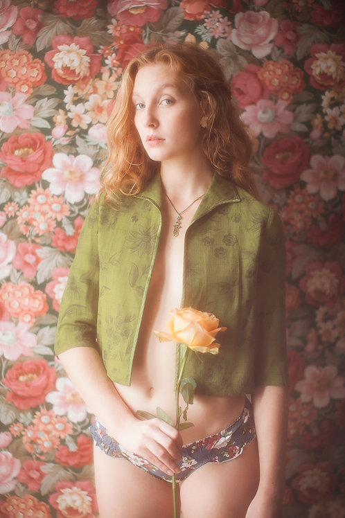 Green Floral print Linen Jacket