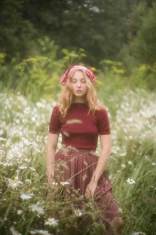 Vintage Burgundy Polka Dot Skirt