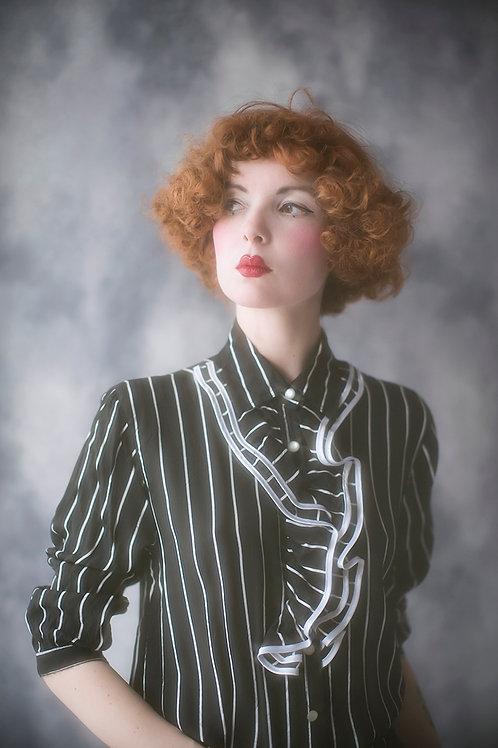 Vintage Black Stripe Ruffle Blouse