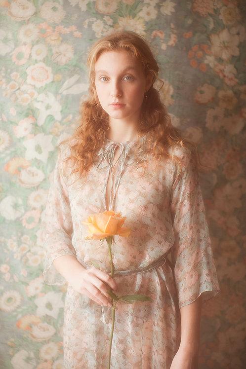 Lovely Vintage Sheer Pastel Floral Chiffon Dress