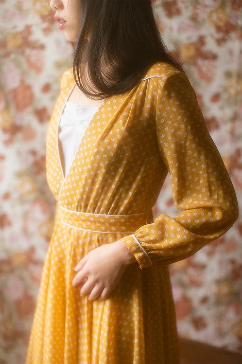 Vintage 1970s Ochre Bohemian Chiffon Dress
