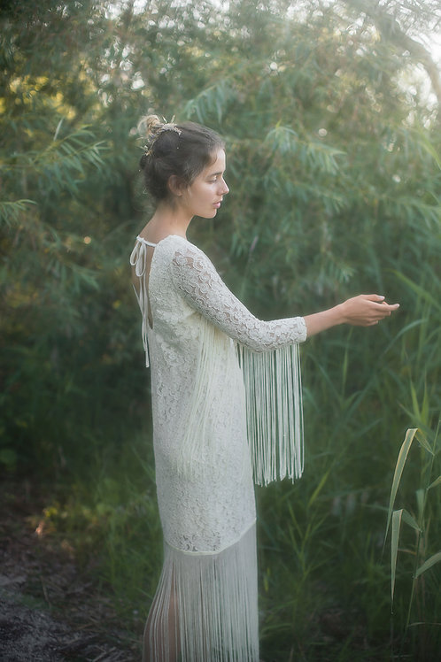 Bohemian Maxi Lace Dress with Fringes