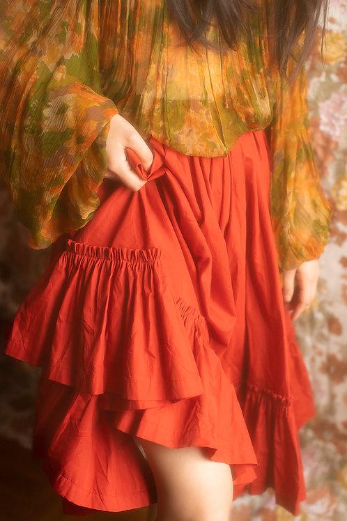Vintage Scarlet Circle Hight Waist Midi Skirt