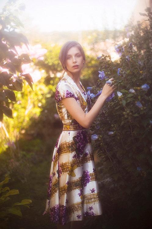 Wonderful 1950's Garden Satin Dress Set