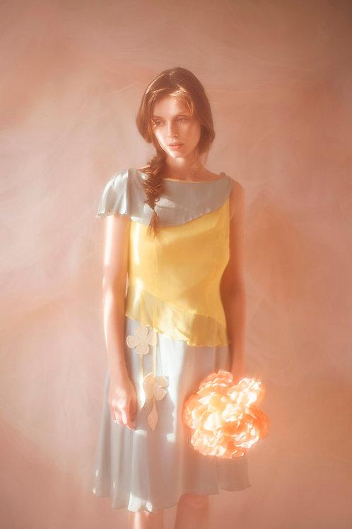 Bi-Colour Designer Silk Chiffon Dress