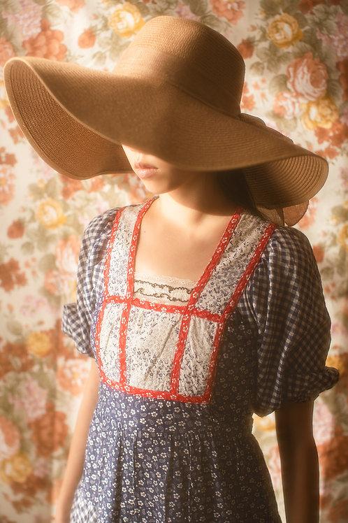 Petite Vintage 1970s Prairie Patchwork Dress