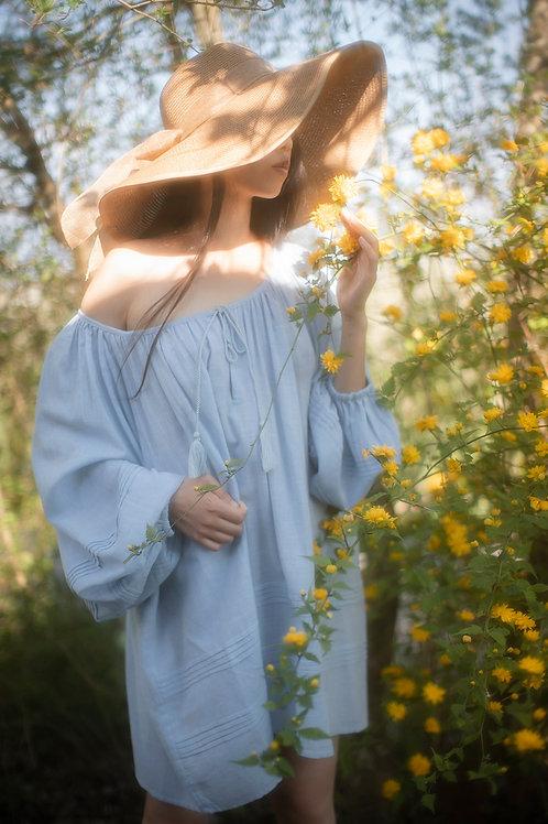 Bohemian Light Blue Tunic Dress
