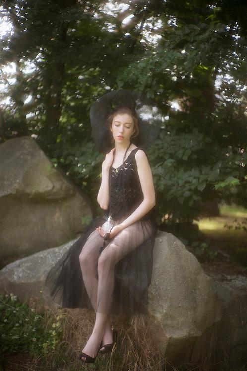 Black Pleated Tulle Skirt