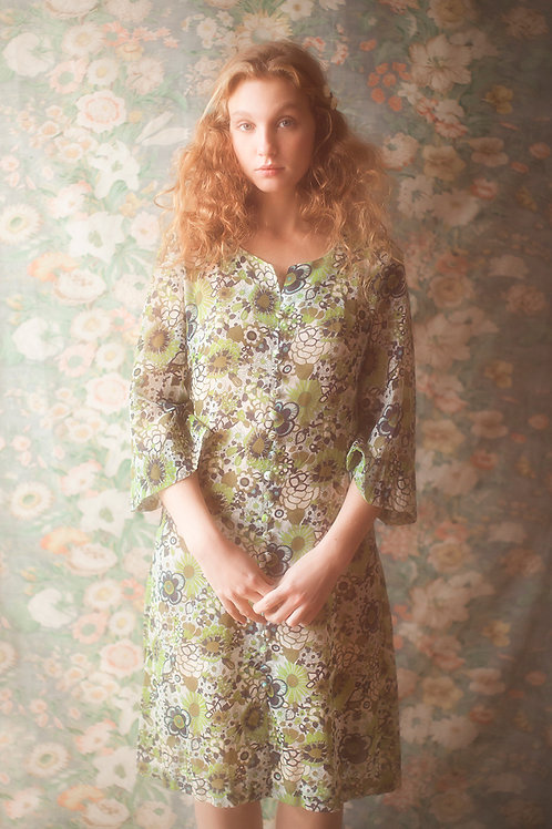 Unique 1960s Green Flower Print Dress