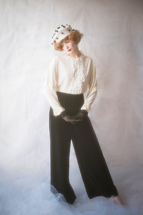 Classy Black Velvet Wide Leg Trousers
