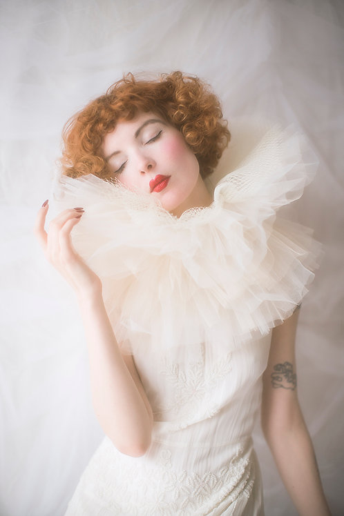 """Dramatic White and silver """"Pierrot"""" Tulle Ruffle Collar"""